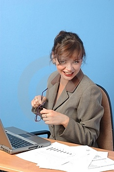 Businesswoman Working, With Glasses Stock Photography