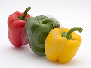 Yellow Green And Red Pepper Stock Photography