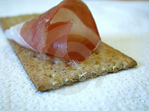 Smoked Ham On Cracker Free Stock Photo