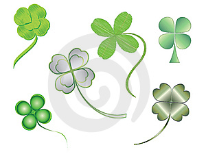 Silhouettes of illustrated four-leaf clovers
