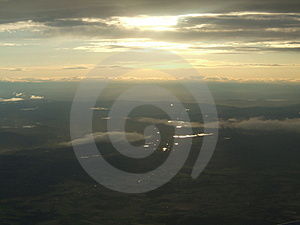 Evening Sky From Airplane Window Stock Images - Image: 1311194