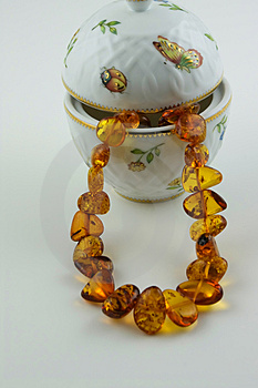Amber Treasure - Necklace And China Vase Stock Photos - Image: 1315963