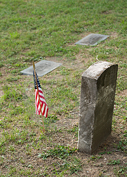 Tombstone And US Flag Royalty Free Stock Photo - Image: 1319315