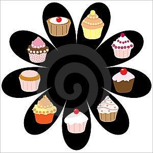 Sada deviatich pohár koláče na čierny kvet izolované na bielom pozadí s priestorom pre kopírovanie, vektor.