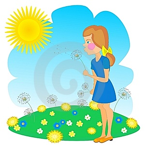 Girl And Dandelion Royalty Free Stock Images - Image: 13266889