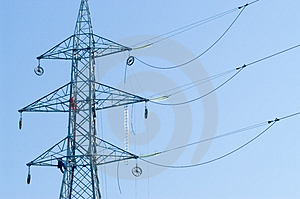 Workers On Electrical Pylon Royalty Free Stock Images - Image: 1331289
