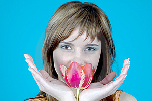 Smiling Behind A Tulip Stock Image - Image: 1341481