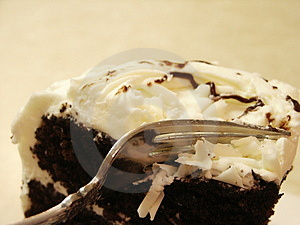 Pict 5012 Chocolate Cake White Icing and Fork Stock Photography