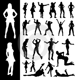 Silhouettes Of Active Women Royalty Free Stock Images - Image: 13460159