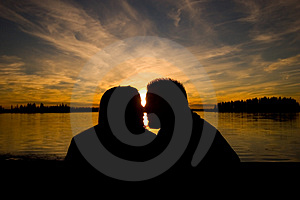 Touching Silhouette Royalty Free Stock Image