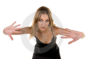 Attractive Woman Pushing Royalty Free Stock Image - Image: 1353166