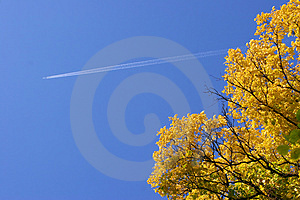 Plane In The Sky In The Autumn Stock Images - Image: 1354984