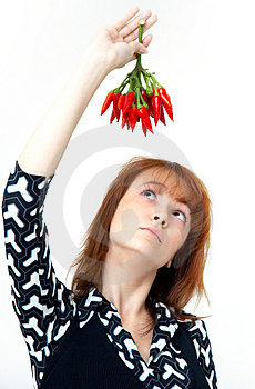 Girl With Chilli Royalty Free Stock Photo - Image: 1357165