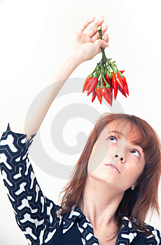 Girl With Chilli Stock Images - Image: 1357204