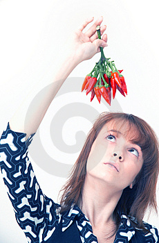 Girl With Chilli Stock Image - Image: 1357221