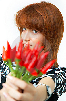 Girl With Chilli Royalty Free Stock Images - Image: 1357239