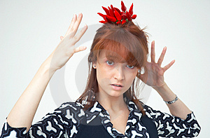 Girl With Chilli Royalty Free Stock Photography - Image: 1357297