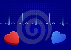 Heart& Blue Electrocardiogram Royalty Free Stock Images - Image: 13536169