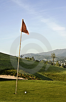 Hole With Red Flag Royalty Free Stock Photo - Image: 13550975