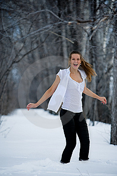 Fashion Model In Winter Forest Royalty Free Stock Image - Image: 13550986