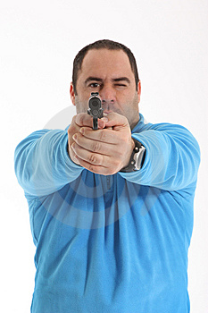 Cop With Pistol Royalty Free Stock Image - Image: 13551306