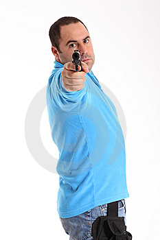 Cop With Pistol Royalty Free Stock Photography - Image: 13551307