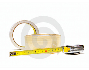 Scotch Tape And Tape-measure Royalty Free Stock Images - Image: 13551599