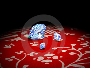 Diamonds On A Red Tissue Royalty Free Stock Image - Image: 13551686