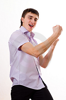 Teenager In A Purple Shirt Against A White Stock Photos - Image: 13552783