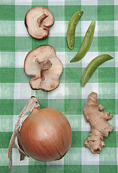 Group Of Vegetables On A Green Checkered Cloth Stock Photography - Image: 13552842