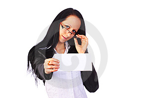 Businesswoman Holding A Blank Card, Isolated Royalty Free Stock Photos - Image: 13555148