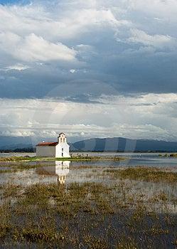 Greek Church On A Lake Stock Photo - Image: 13556010
