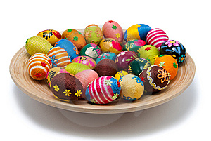 Lots Of Easter Eggs On Wooden Plate Stock Photo - Image: 13560420
