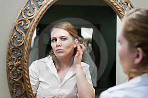 Bride Applying Makeup Wedding Day Stock Photo - Image: 13562630