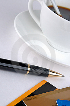 Coffee, Credit Card And Ball Pen Royalty Free Stock Photography - Image: 13563327