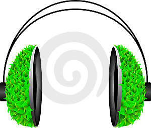 Pop Art Headphone With Green Leafs Stock Photography - Image: 13565102