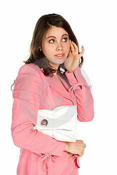Beautiful Young Thinking Woman With A White Bag Stock Photos - Image: 13565493