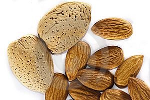 Almonds With And Without Shells Stock Photography - Image: 13566172