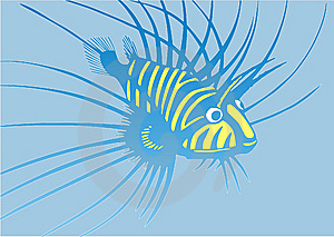 Strange Blue-and-yellow Fish Royalty Free Stock Images - Image: 13566569