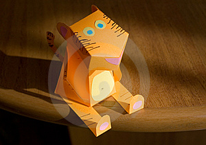 The Tiger From An Orange Paper Stock Images - Image: 13570734