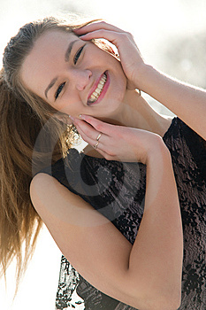 Happy Young Female Smiling While Outdoors Royalty Free Stock Images - Image: 13573729