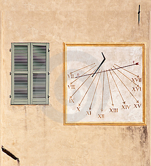 Outdoor Wall Decoration: Sundial Royalty Free Stock Photography - Image: 13573937