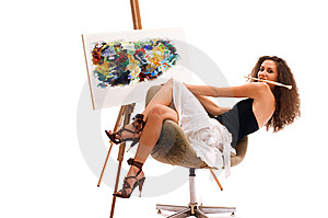 Painter Woman Royalty Free Stock Photos - Image: 13574088