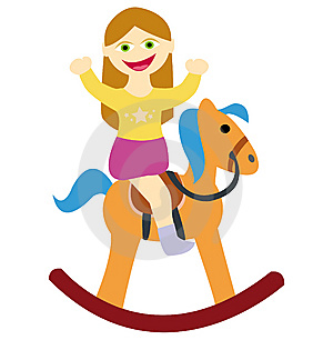 Girl Riding On Rocking Horse Stock Image - Image: 13574121