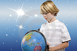 Boy With The Globe (clipping Path) Royalty Free Stock Image - Image: 13577706