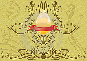 Golden Rabbit On The Egg With Ribbon For Text Royalty Free Stock Photos - Image: 13577928
