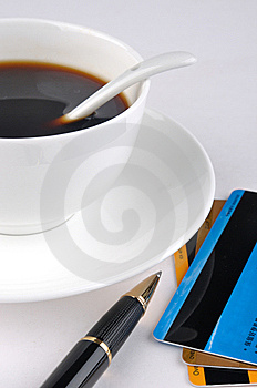 Coffee, Credit Cards And Pen Stock Images - Image: 13578094