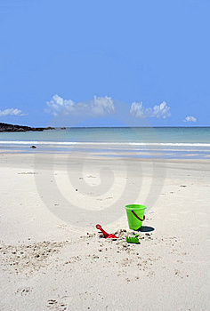 Beach Toys Abandoned On A Secluded Beach Stock Image - Image: 13579541