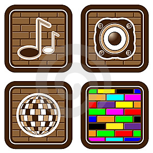 Brick Buttons With Musical Icons For Web Devices Stock Images - Image: 13580624