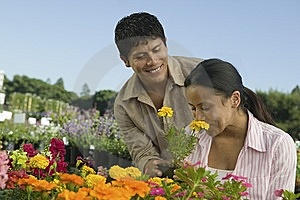 Couple Shopping At Plant Nursery Royalty Free Stock Image - Image: 13583936
